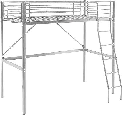 MUEBLIX   Literas Juveniles 90x190   Cama Alta Individual   Estructura de Metal   Literas Juveniles Baratas con Escalera   Ideal para Loft para ...