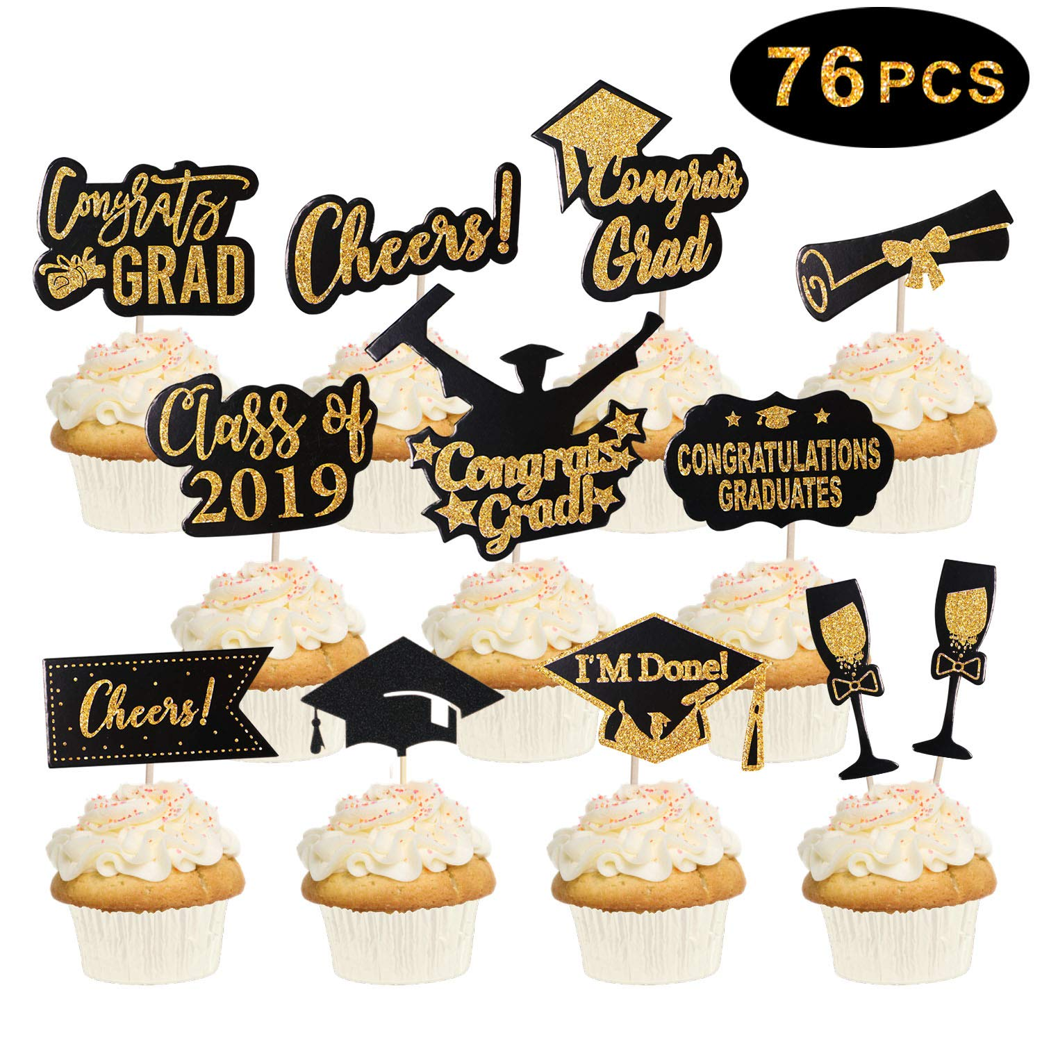 76 Pcs Graduation Cupcake Toppers 2019 Graduation Party Decorations Cake Picks Toppers Class Of 2019 Graduation Party Supplies