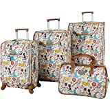 Lily Bloom Luggage 4 Piece Suitcase Collection With Spinner Wheels For Woman (Furry Friends)