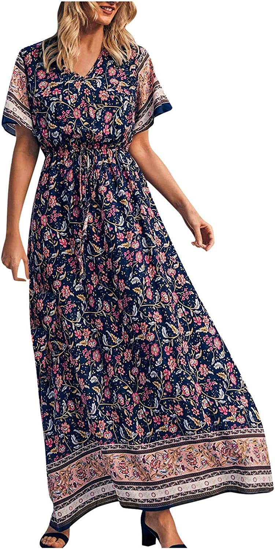 Women's Summer V Neck Wrap Vintage Floral Print Short Sleeve Split Belted Flowy Boho Beach Long Dress