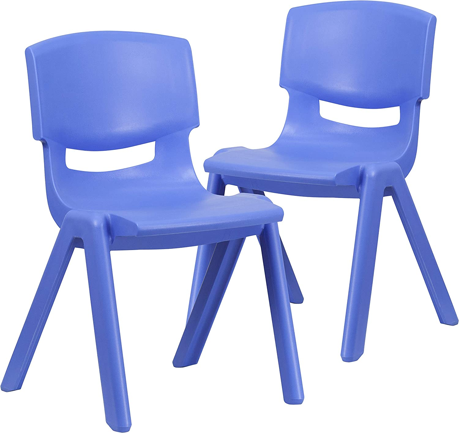 "Flash Furniture 2 Pack Blue Plastic Stackable School Chair with 15.5"" Seat Height"