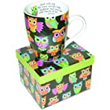 Divinity Boutique Inspirational Ceramic Mug - Owl Pattern, Job 8:21, Multicolor