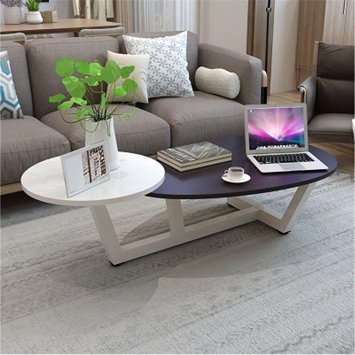 Delicieux TUORUI Small Coffee Table, Tea Table,2 Tiered Sofa Table, Living Room  Furniture, Simple End Table, For Small Apartment,Round + Drop Shaped, Mixed  Material, ...
