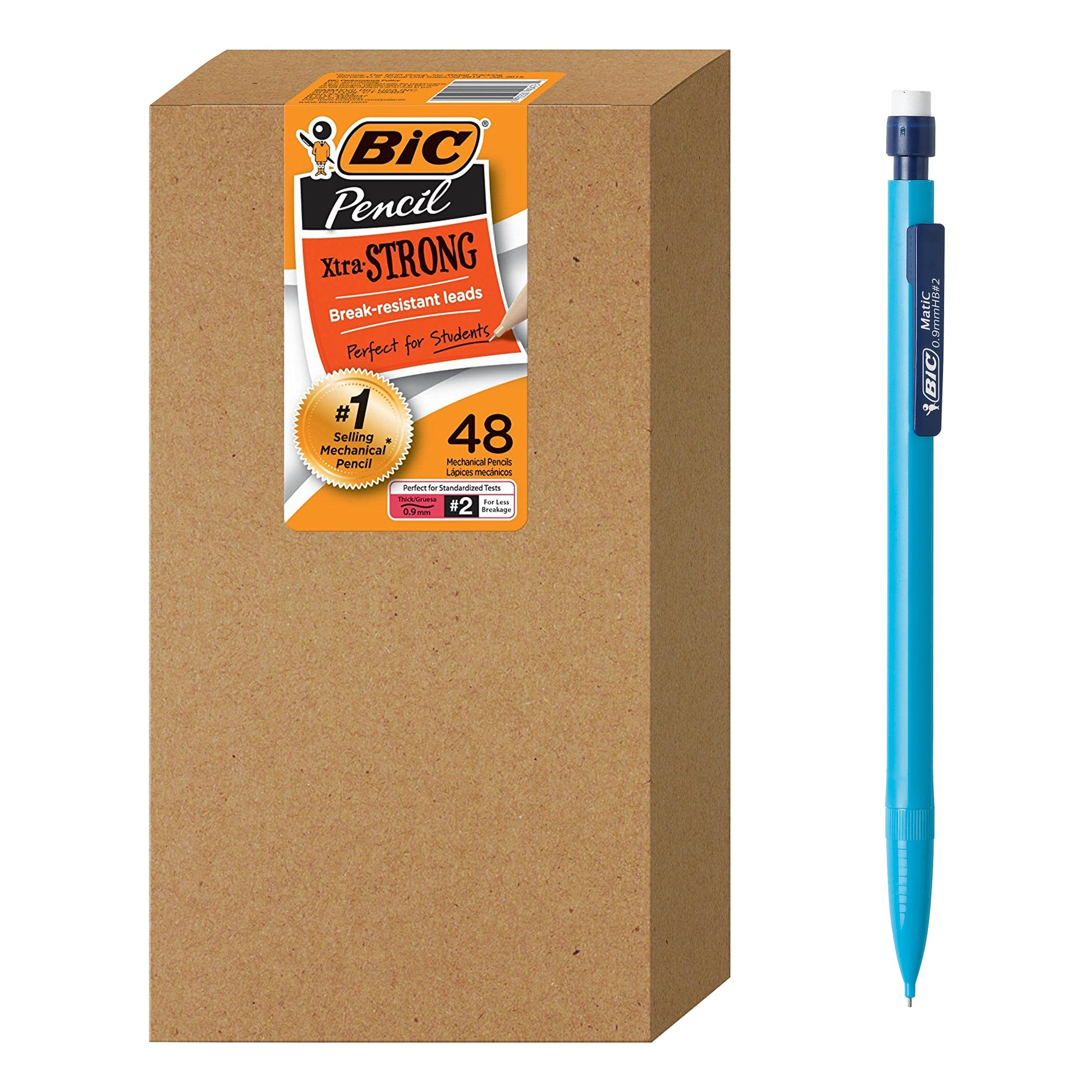 BIC Xtra-Strong Mechanical Pencil, Colorful Barrel, Thick Point (0.9mm), 48-Count by BIC