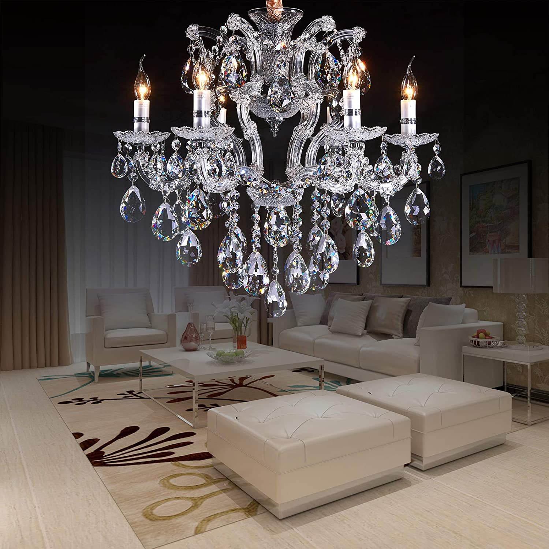 "AIDOS Antique Chandelier K9 Crystal Raindrop Chandelier, Modern Ceiling Lights, Fixture Pendant Lamp for Dining Room Bathroom Bedroom Living Room 6E12 Bulbs D 25.6"" H 24.4"""