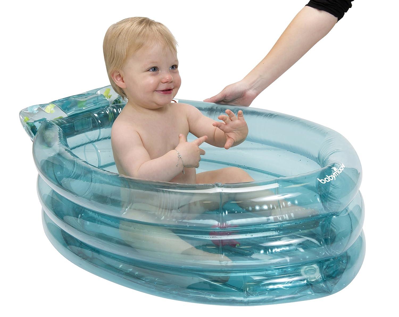 Babymoov A019409 - Bañera hinchable y evolutiva con tumbona inflable y amovible integrada, color azul