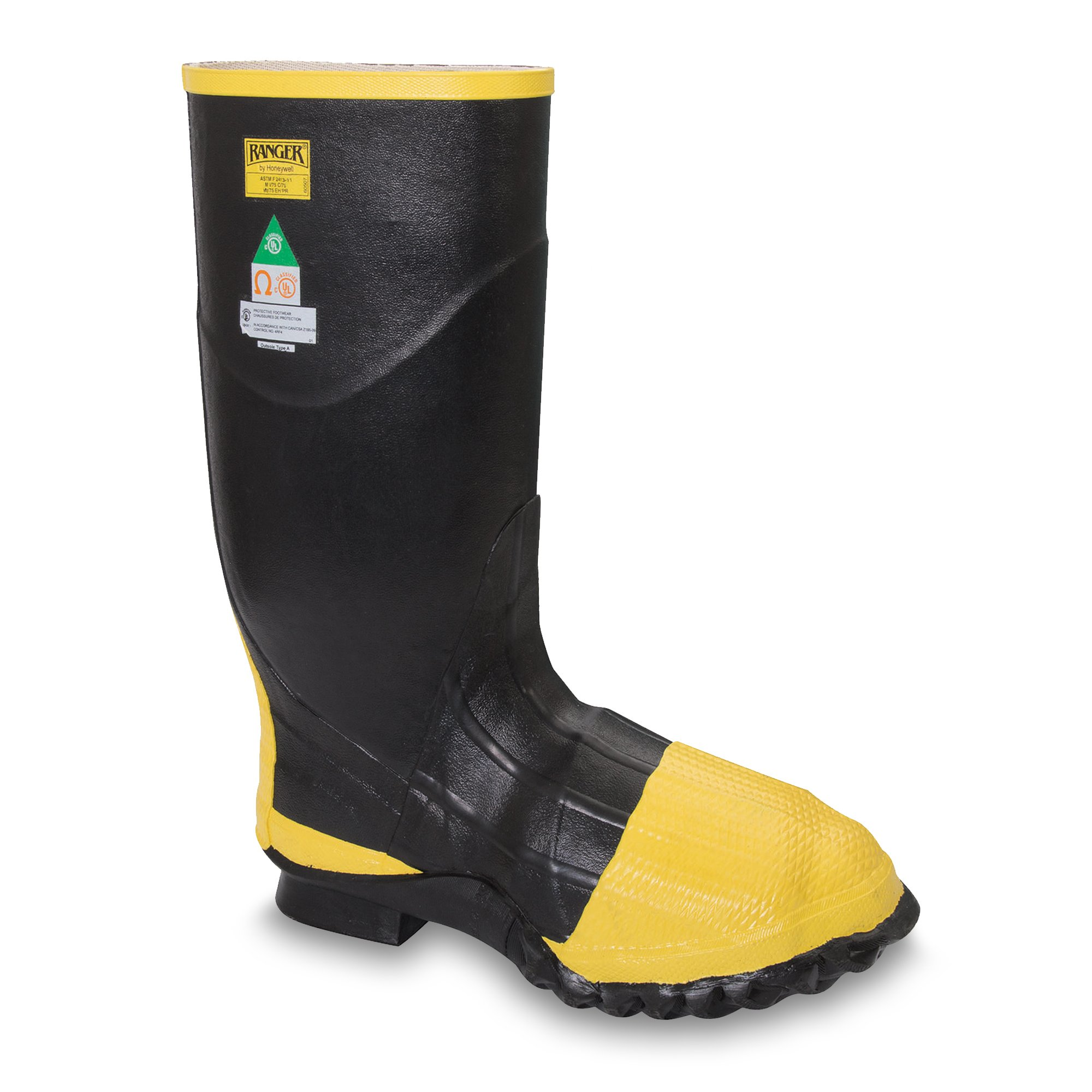 Ranger Turtleback Safety Pac 16'' Heavy-Duty Men's Rubber Metatarsal Boots with Steel Toe and Steel Midsole, Black & Yellow (R2145)
