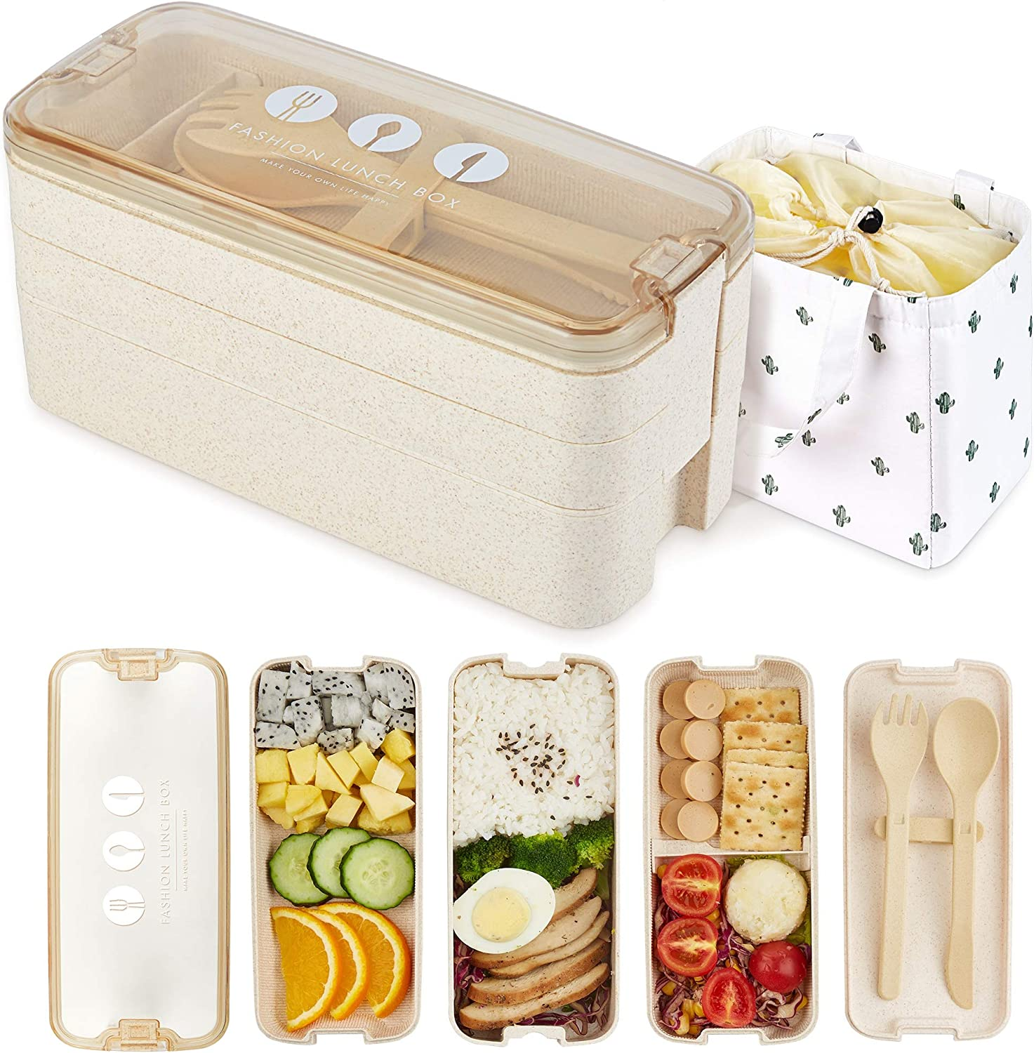 AZAWA Bento Lunch Box 1100ml/38oz, 3-Layer Bento Box with Spoon & Fork for Kids Adult & Office Worker, BPA-Free Wheat Fiber Lunch Box Leak-Proof Food Containers with Bonus Lunch Bag (Beige)