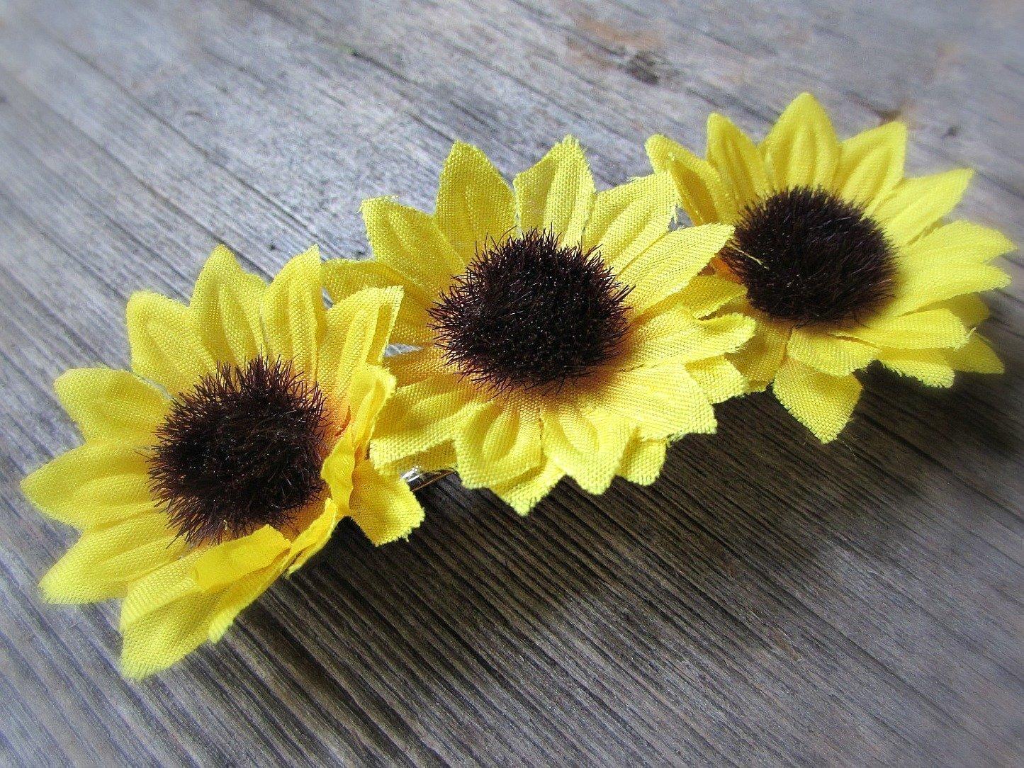 Silk Sunflower Hair Barrette- Hair Accessories for Boho Wedding Prom- Bride Bridesmaids Flower Girl Gift