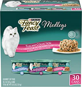 Purina Fancy Feast Wet Cat Food Variety Pack, Medleys Seafood Collection with Garden Greens in Sauce - (30) 3 oz. Cans