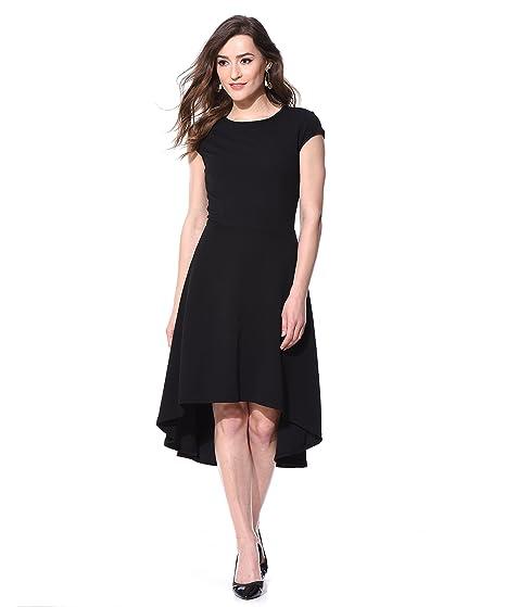 a457e70dbab6 AARA Women's Dress Black Cap Sleeve High Low Assymetrical Causal ...