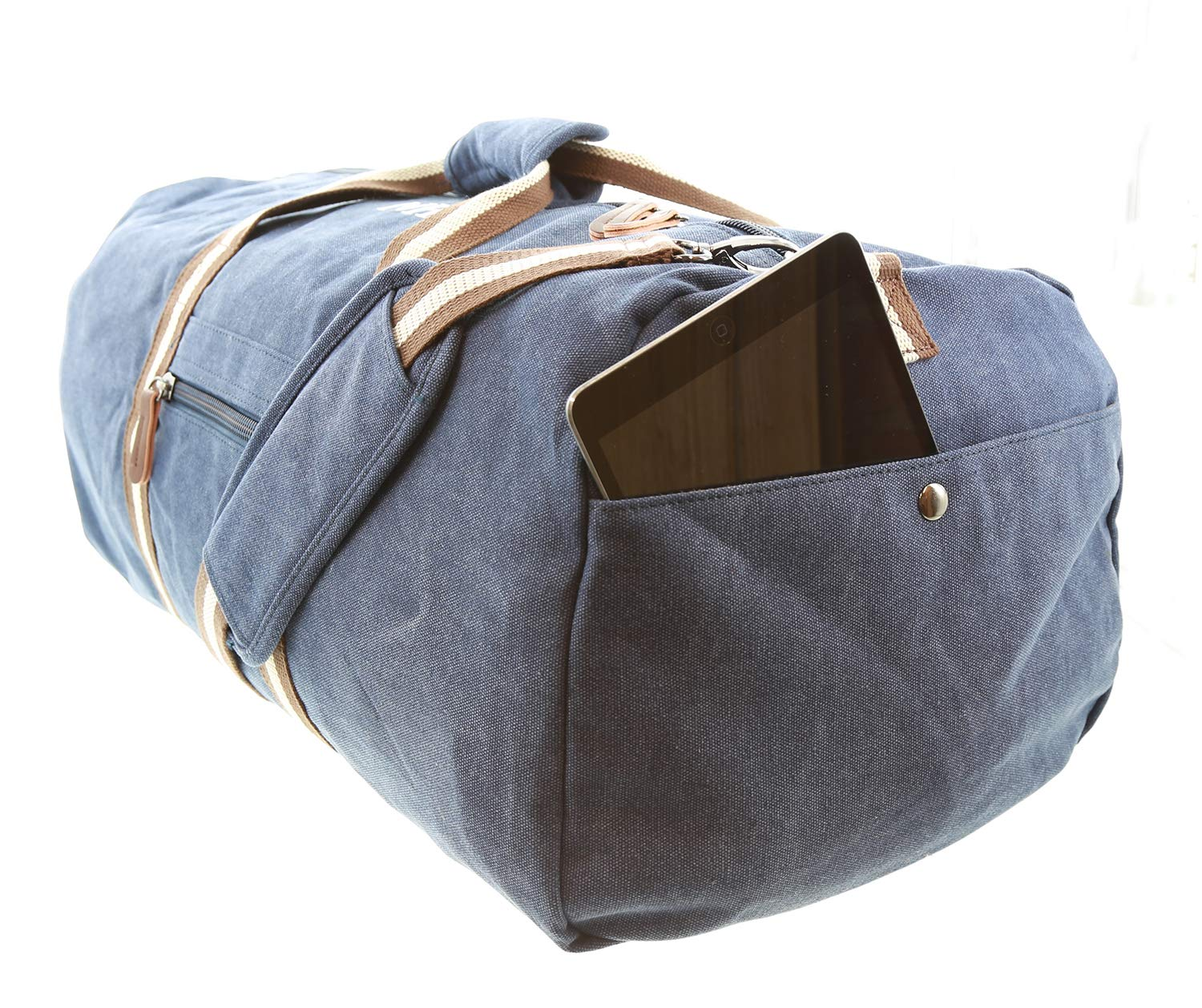 8602fad0e7d6d1 TowelsRus Vintage Canvas Holdall Bag, Weekend Bag, Gym Bag, Carry on Bag ( Personalised, Oxford Navy): Amazon.co.uk: Luggage