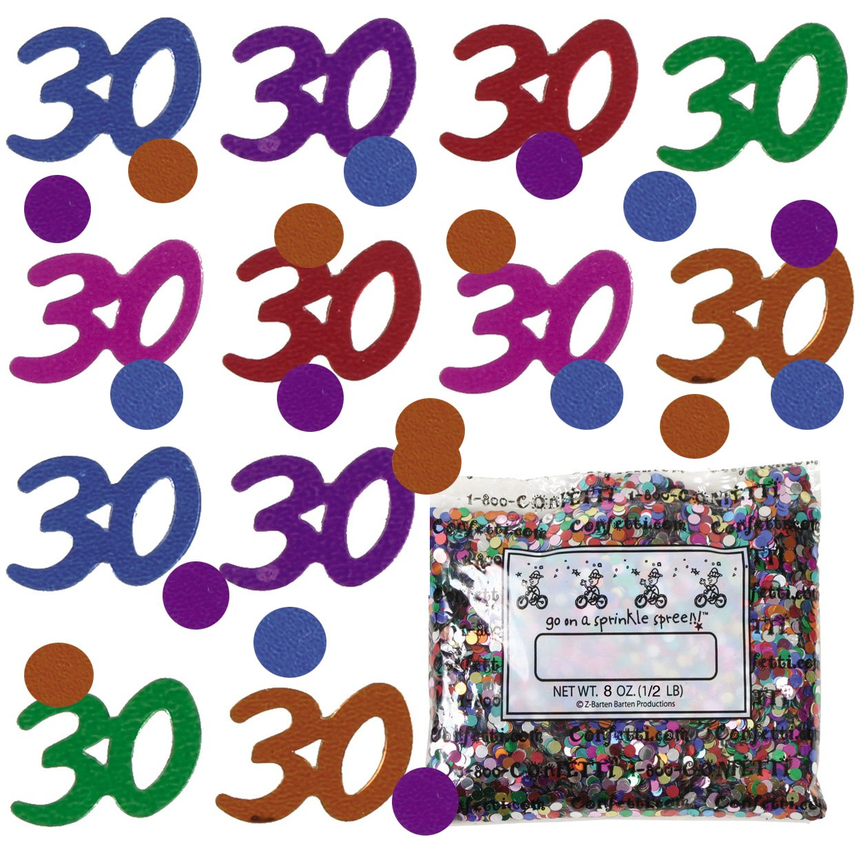 Confetti Mix - 30s & Circles Multicolors - One Pound - Free Priority Mail- (9002)