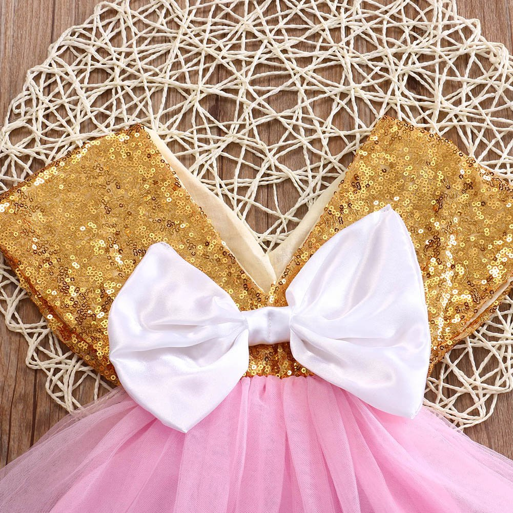 Tomblin Baby Girls Gold Sequins One-Piece Dress with White Bow-Knot and Pink Tutu Skirt Sunsuit