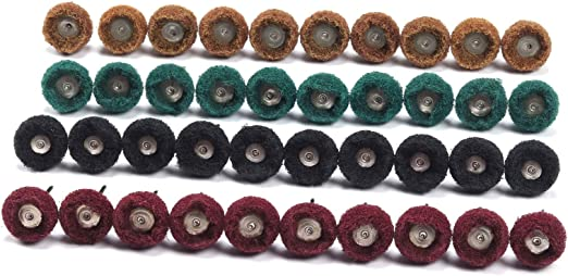 "10PCS 1/"" Black Fine Abrasive Buffing Polishing Wheels Burr For Rotary Tools"