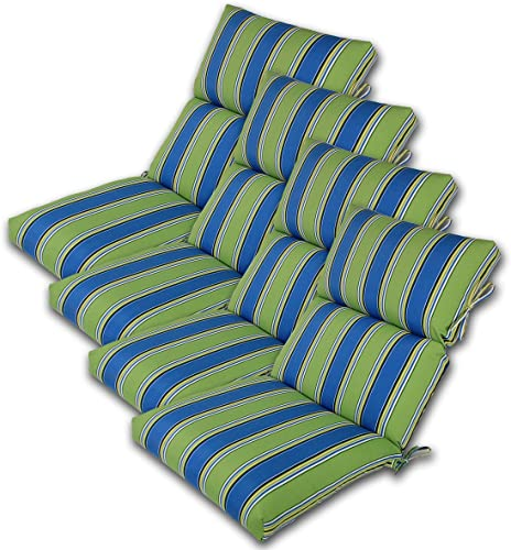 Comfort Classics Inc. Set of 4 22W x 44L x 5H Hinge at 24″ Spun Polyester Outdoor CHANNELED Reversible Chair Cushion
