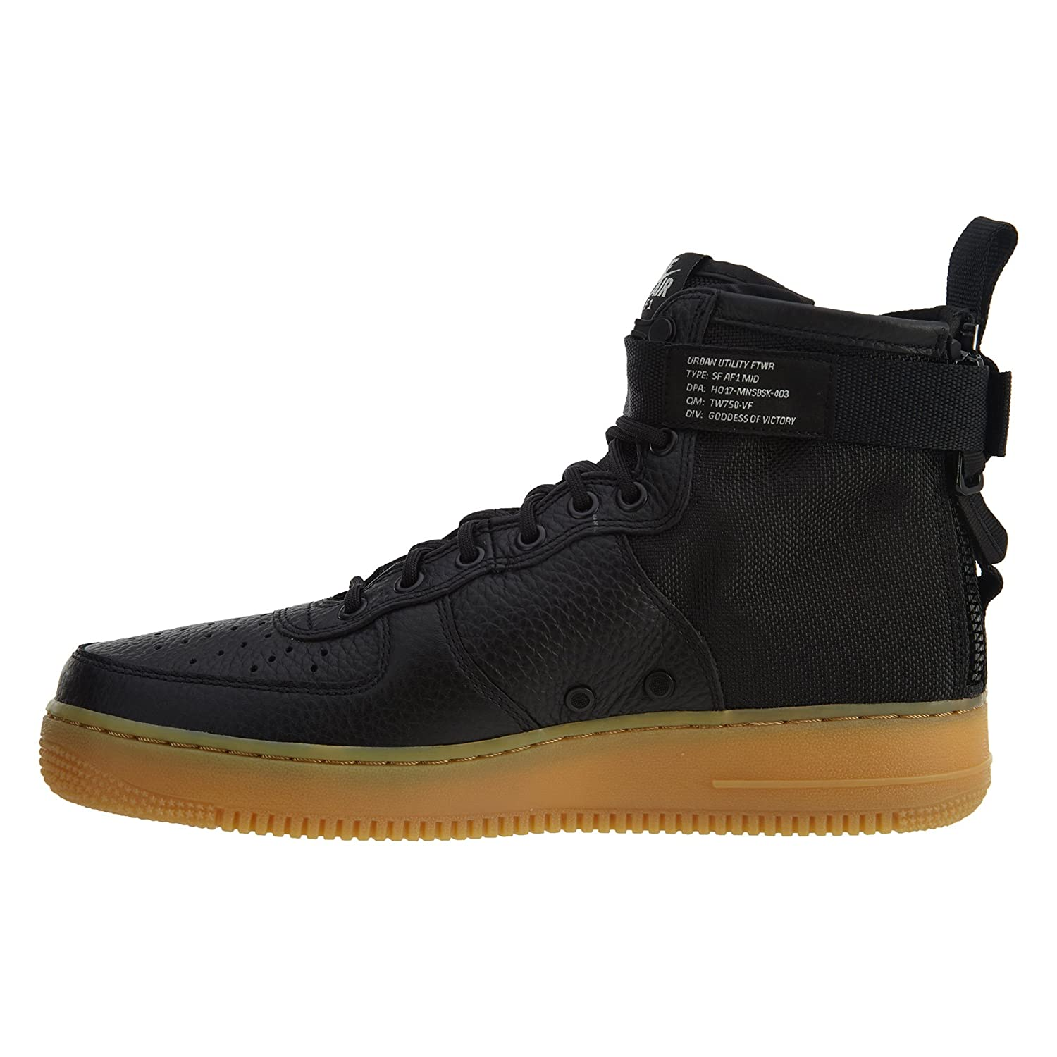 Tenis Nike SF AF1 Mid de básquetbol para hombre, Black Black gum Light Brown, 8 US