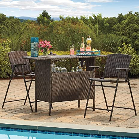 Amazon.com : Stratford Wicker Bar And Balcony Chairs Best Most Durable  Outdoor 3 Piece Patio Furniture Set : Garden U0026 Outdoor