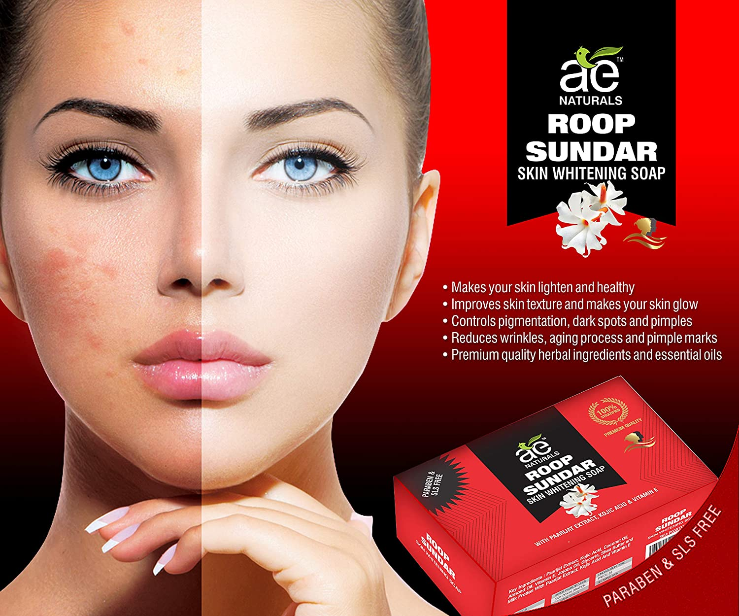 Buy AE Naturals Roop Sundar Skin Whitening Soap With Paarijat Extract Pack  of 3 Online at Low Prices in India - Amazon.in