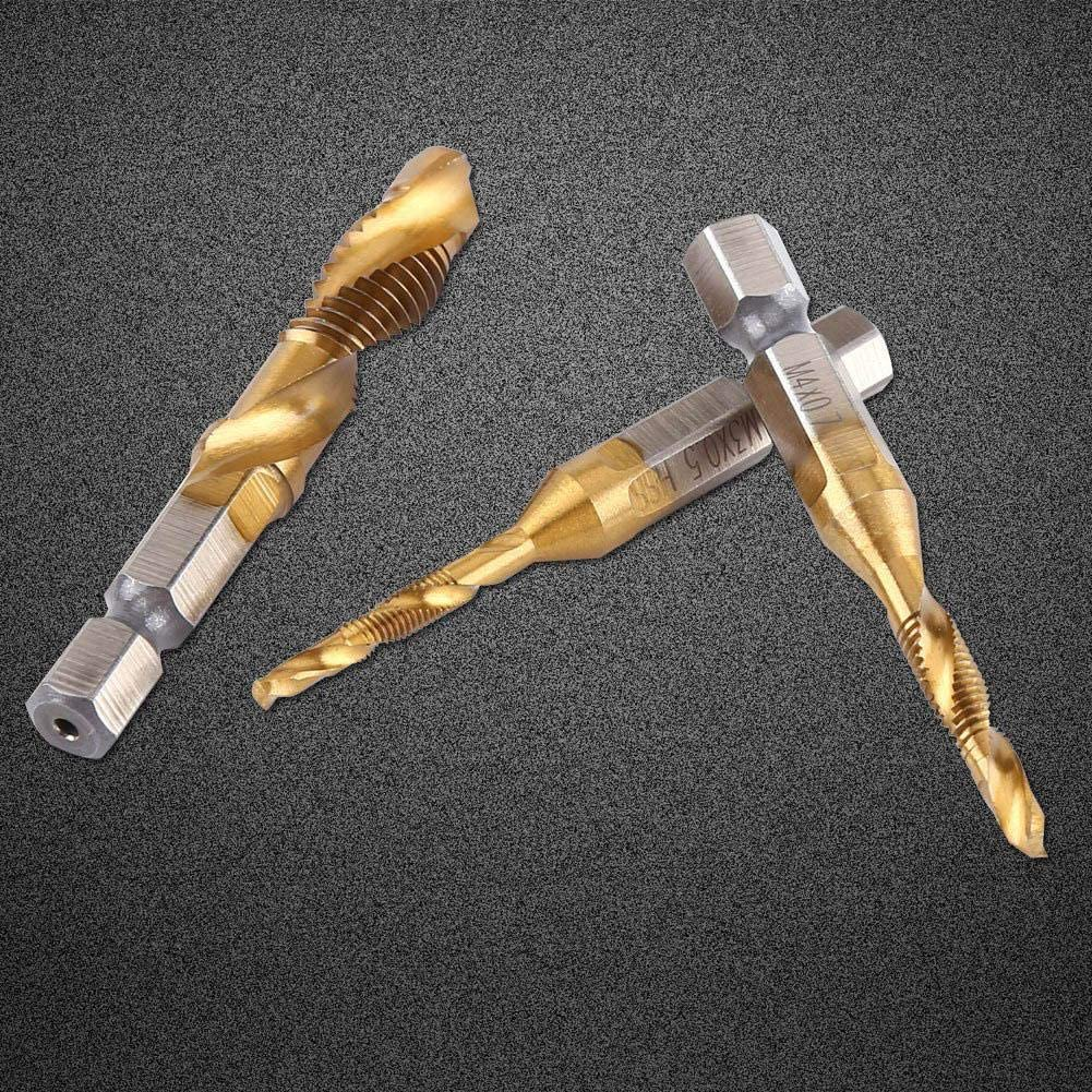 Nannday Durable and Practical 6pcs Thread M3-M10 Coated HSS Drill and Tap Bits 1//4 Hex Shank for Machine Tapping