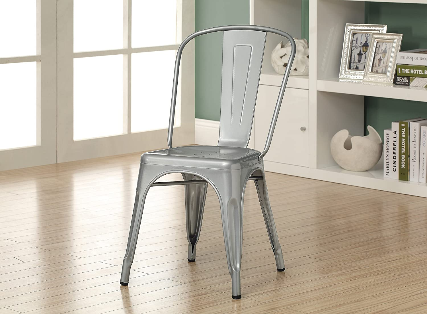 Amazon.com   Monarch Galvanized Metal 2 Piece Cafe Chair, 33 Inch, Silver    Chairs