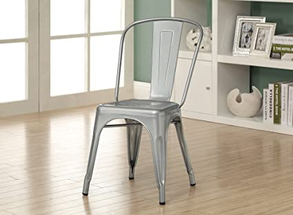 Amazon.com - Monarch Galvanized Metal 2-Piece Cafe Chair, 33-Inch ...