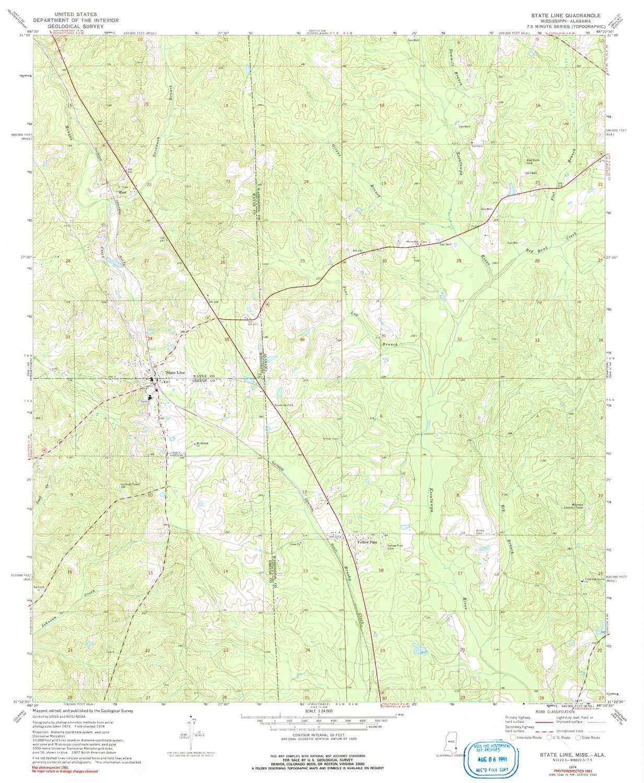 Amazon.com : YellowMaps State Line MS topo map, 1:24000 ...