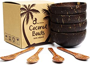 Set of 4 Vietnamese Coconut Bowls and Spoons by Okey Kitchen, 100% Natural, Organic, Eco-Friendly, Vegan, Buddha Smoothie Coco Bowl and Spoons from Ben Tre Artisan Craft (Polished)