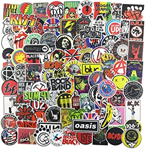 100pcs Music Band Stickers, Laptop Punk Rock and Roll Vinyl Decal for Guitar Bass Phone Computer Travel Case Piano Water Bottle