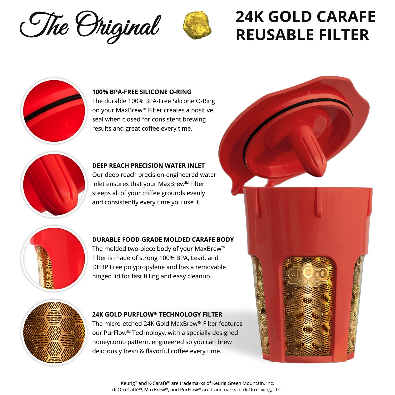 amazoncom maxbrew 24k gold reusable kcarafe filter for keurig 20 kcup reusable 45 cup carafe filter for keurig 20 kitchen u0026 dining
