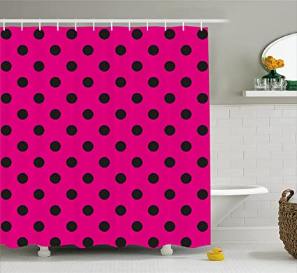 Ambesonne Hot Pink Shower Curtain Pop Art Inspired Design Retro Pattern Of Black Polka Dots