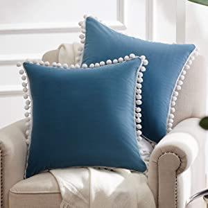 WESTERN HOME WH Decorative Throw Pillow Covers with Pom Poms, Soft Square Velvet Pillowcase, Accent Cushion Case 18 x 18 Inch for Couch Sofa Bedroom Car, Pack of 2, Teal Blue