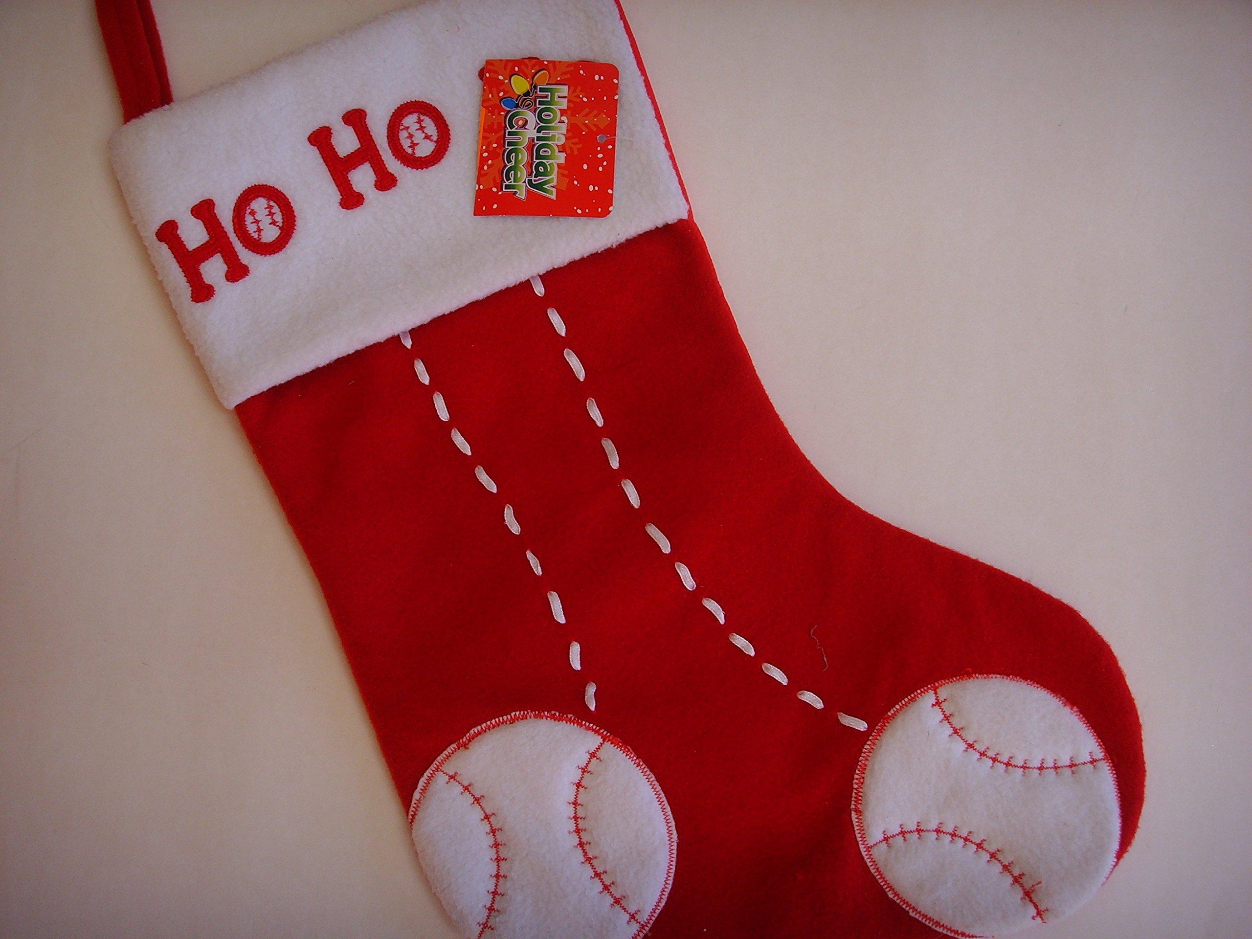 Christmas Stocking 18'' Home Decor ; Red Sports Baseball