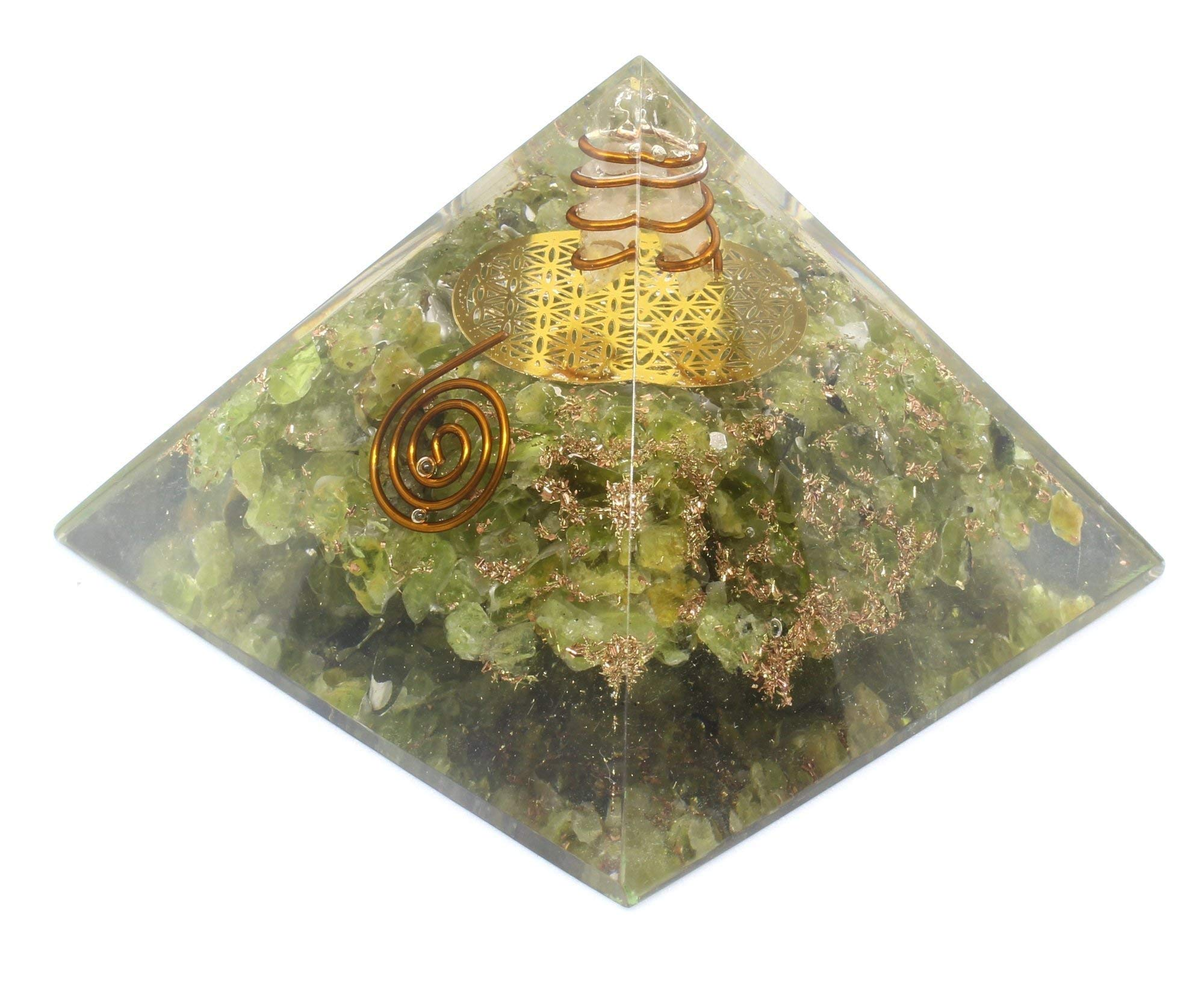 Orgone Pyramid - Flower Of Life Orgone Energy Peridot Copper Pyramid- Healing Crystals for EMF Protection Soul with Inner Psychic Sense-Vivid Dreams