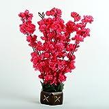 Hyperboles Artificial Flowers Fake Rani Blossom with Wooden Pot (32 cm) (9 Sticks)