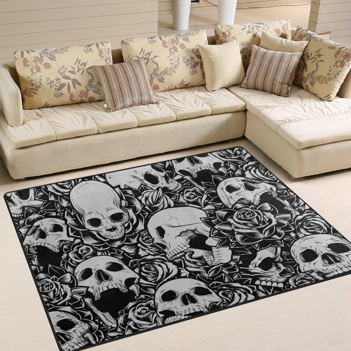 YZGO Day of The Dead Horror Skull Kids Area Rug, Non-Slip Floor Mat Soft Resting Area Doormats for Living Dining Bedroom 5' x 7'