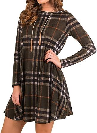 usa cheap sale buy online cozy fresh Mesitelin Women Long Sleeve Plaid Tunic Dress Casual Swing T Shirt Dress  with Pockets