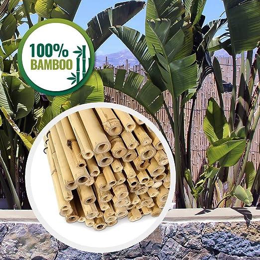HAPPERS Valla jardín BAMBÚ Natural, Rollo cañas bambú ocultación ...