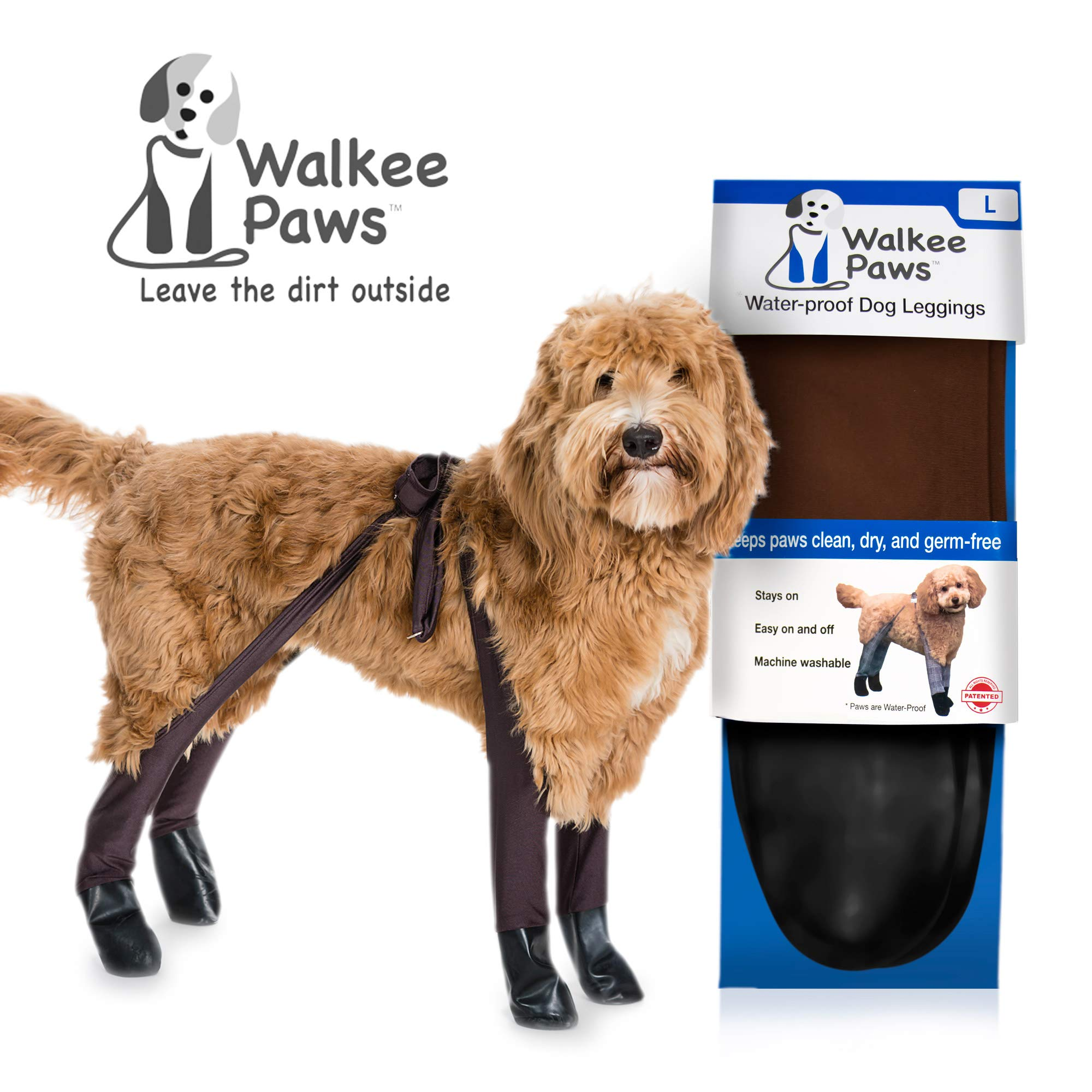 Walkee Paws Waterproof Dog Leggings - Keep Your Dog's Feet Clean and Dry Without The Hassle of Boots - Cocoa Color (Large) by Walkee Paws