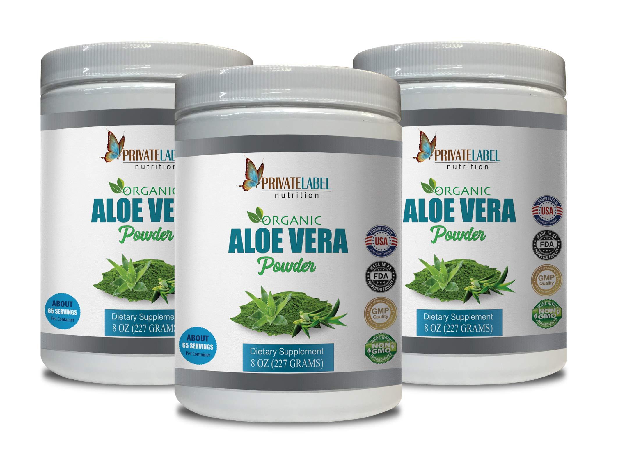 Cardiovascular Enhancement - Aloe Vera Organic Powder - Aloe Vera Vitamins - 3 Cans 24 OZ (195 Servings)