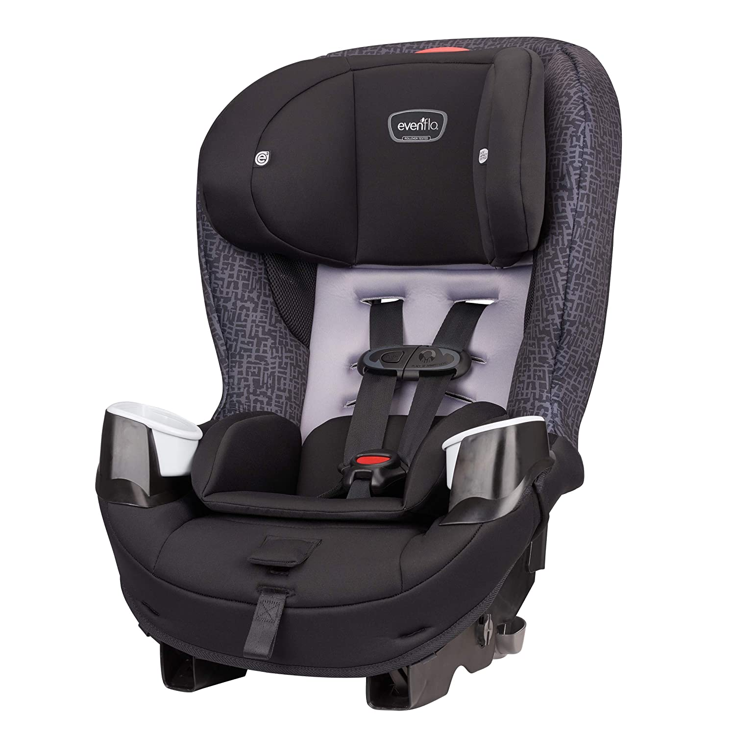Evenflo Stratos 65 Convertible Car Seat Air Flow Vents 2 Car Seats in 1 Rollover-Tested Removable Body Pillow Quick-Connect LATCH Hooks Forward // Rear Facing Car Seat Boulder Gray