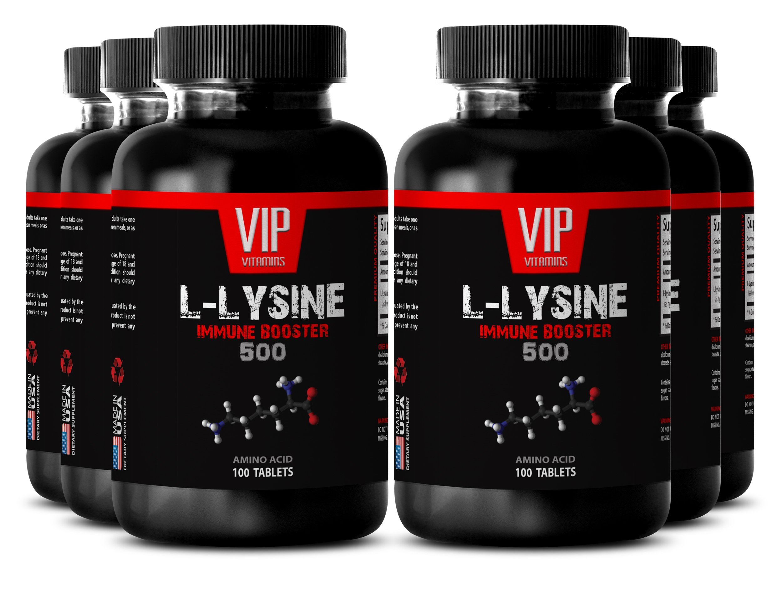 Bodybuilding supplements - L-LYSINE IMMUNE BOOSTER 500 - Bone strength - 6 Bottles 600 tablets