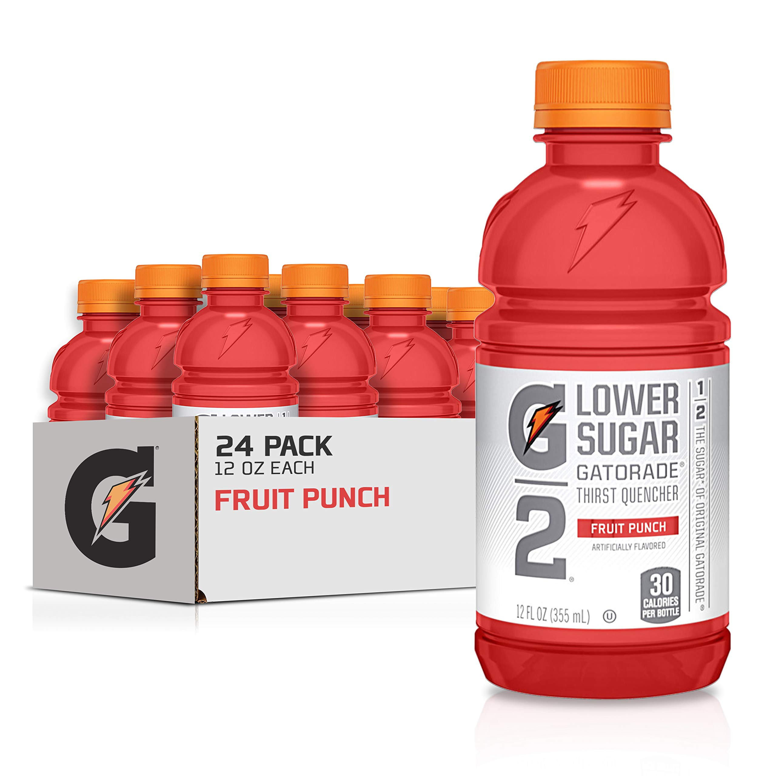 Gatorade G2 Thirst Quencher, Lower Sugar, Fruit Punch, 12 Ounce Bottles (Pack of 24)