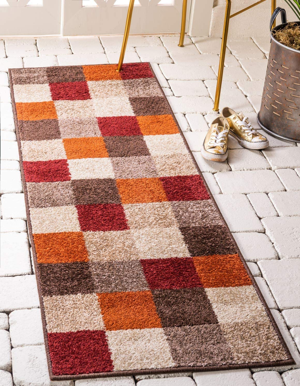 Unique Loom Autumn Collection Modern Checkered Warm Toned Multi Runner Rug 2 6 x 10 0