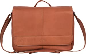 Kenneth Cole Reaction Risky Business Colombian Leather Crossbody Laptop & Tablet Flapover Messenger, Cognac