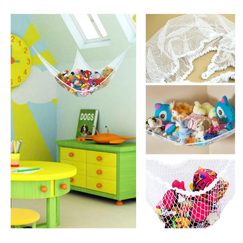 2 Pack Stuffed Animals and Kids Toy Organizer Storage Net Hanging Corner Wall,31x24x24 and 55x35x35 Large Toy Hammock