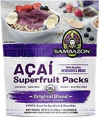 Sambazon Organic Original Blend, Acai Berry and Guarana Smoothie Superfruit Pack, 100g Pouches, 4 Count