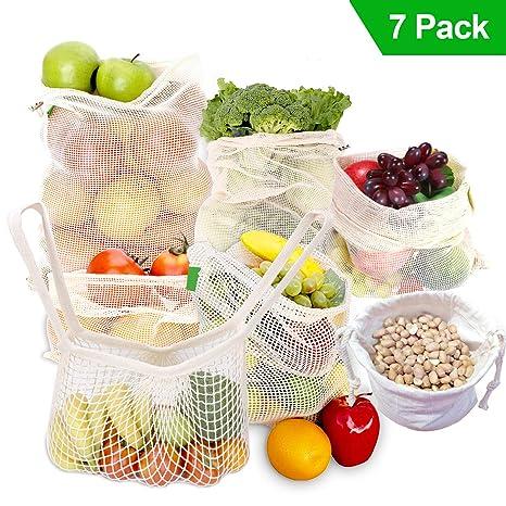 7 Piezas Bolsas de Vegetales Reutilizables de algodón Bolsa de Malla Lavable Bolsas de Malla Transpirables Adecuado para Frutas y Verduras