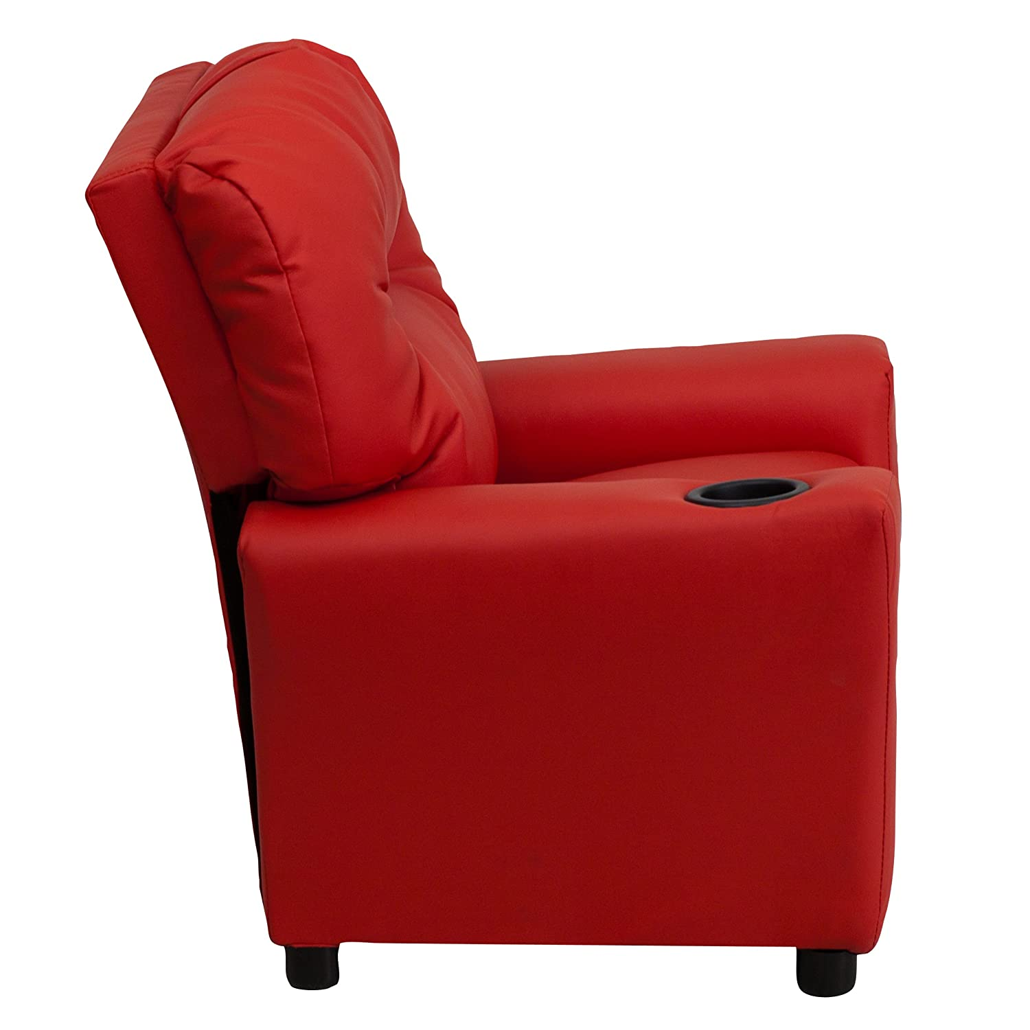 Amazon.com: Flash Furniture Contemporary Red Vinyl Kids Recliner With Cup  Holder: Kitchen U0026 Dining