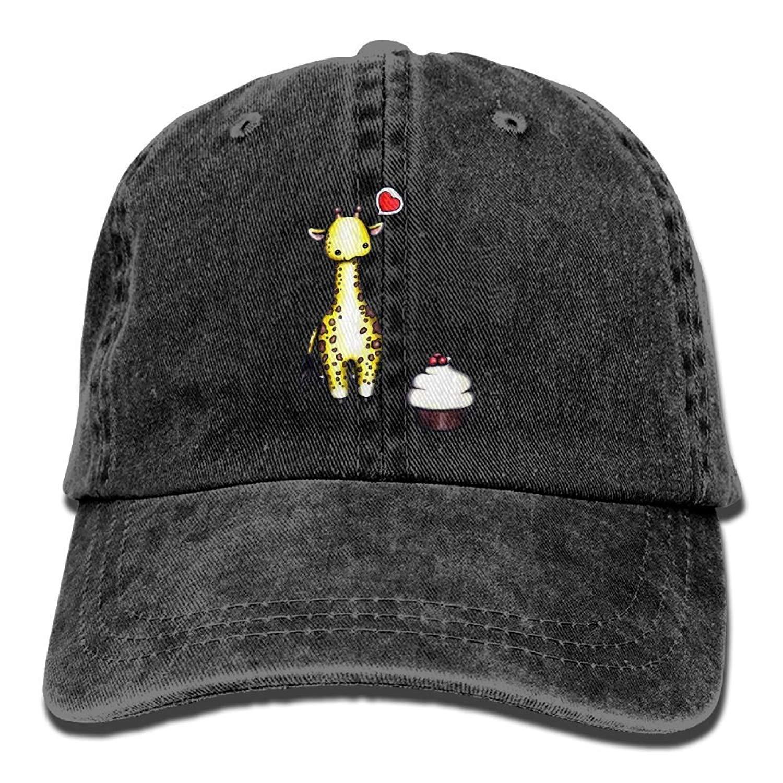 JTRVW Mens Womens Cute Giraffe Cake Cotton Adjustable Peaked Baseball Dyed Cap Adult Custom Casual Baseball Cowboy Hats